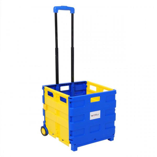 Einkaufswagen ohne Deckel gross Blau-Gelb