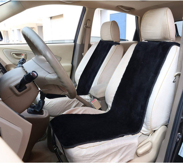 2 Lambskin Wool Fleece Car Seat Cover Cushion 100% Genuine Sheepskin Front Seat Covers, ca.1.8cm thick