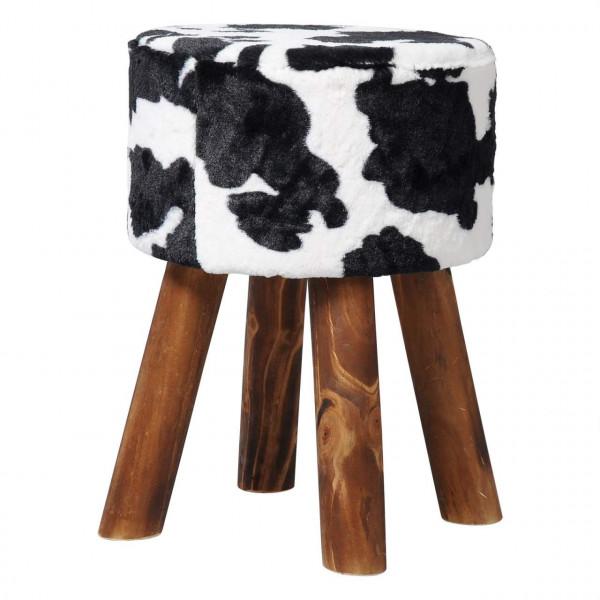Fellhocker, gepolsterte Sitzfläche, Plüsch & Massivholz, Kuh-Muster
