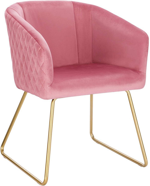 Dining chair with armrests in velvet & metal - model Annika
