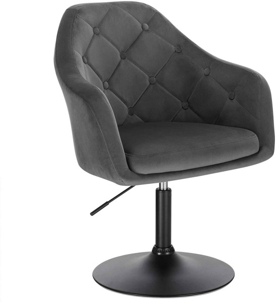 Bar chair with armrest and backrest made of velvet & metal - model Aria