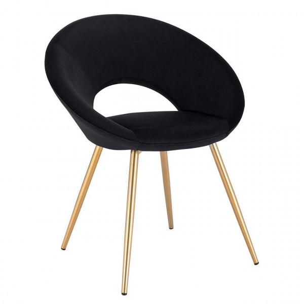 Velvet dining chair with metal legs, model Karin