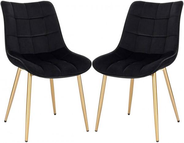 Set of 2 kitchen chairs made of velvet golden legs Elif