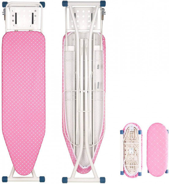 Bügeltisch Bügelbrett mit Ärmelbrett 132x33,5x(74-88) cm, rosa