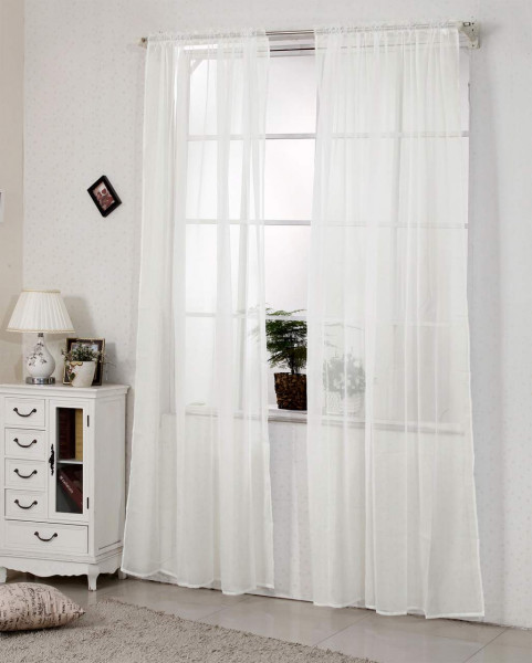 Curtain with voile curling tape, transparent