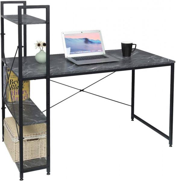 Moderner Schreibtisch mit integriertem Bücherregal, schwarzer Marmor