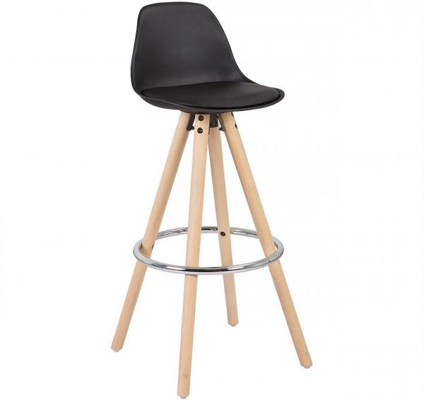 Barstuhl aus Kunststoff Holzgestell mit Lehne Joyce, schwarz