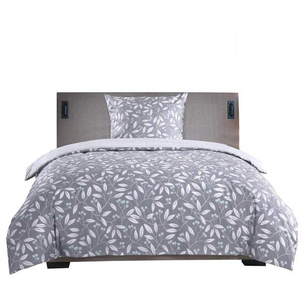 Bettwäsche Set + Kissenbezug mit Blumen Muster