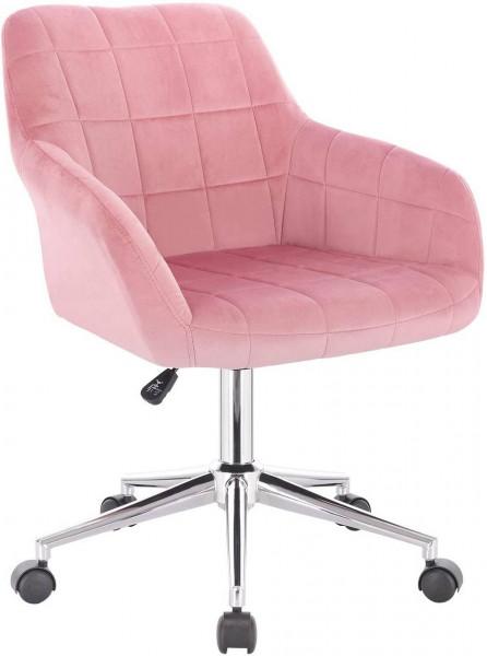 Bürohocker Rollhocker mit Lehne Samt Modell Rita,rosa