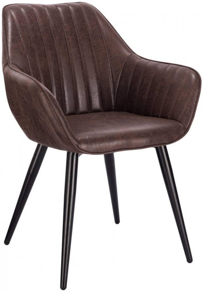 Dining chair with armrests made of synthetic leather and metal legs - model Kerstin