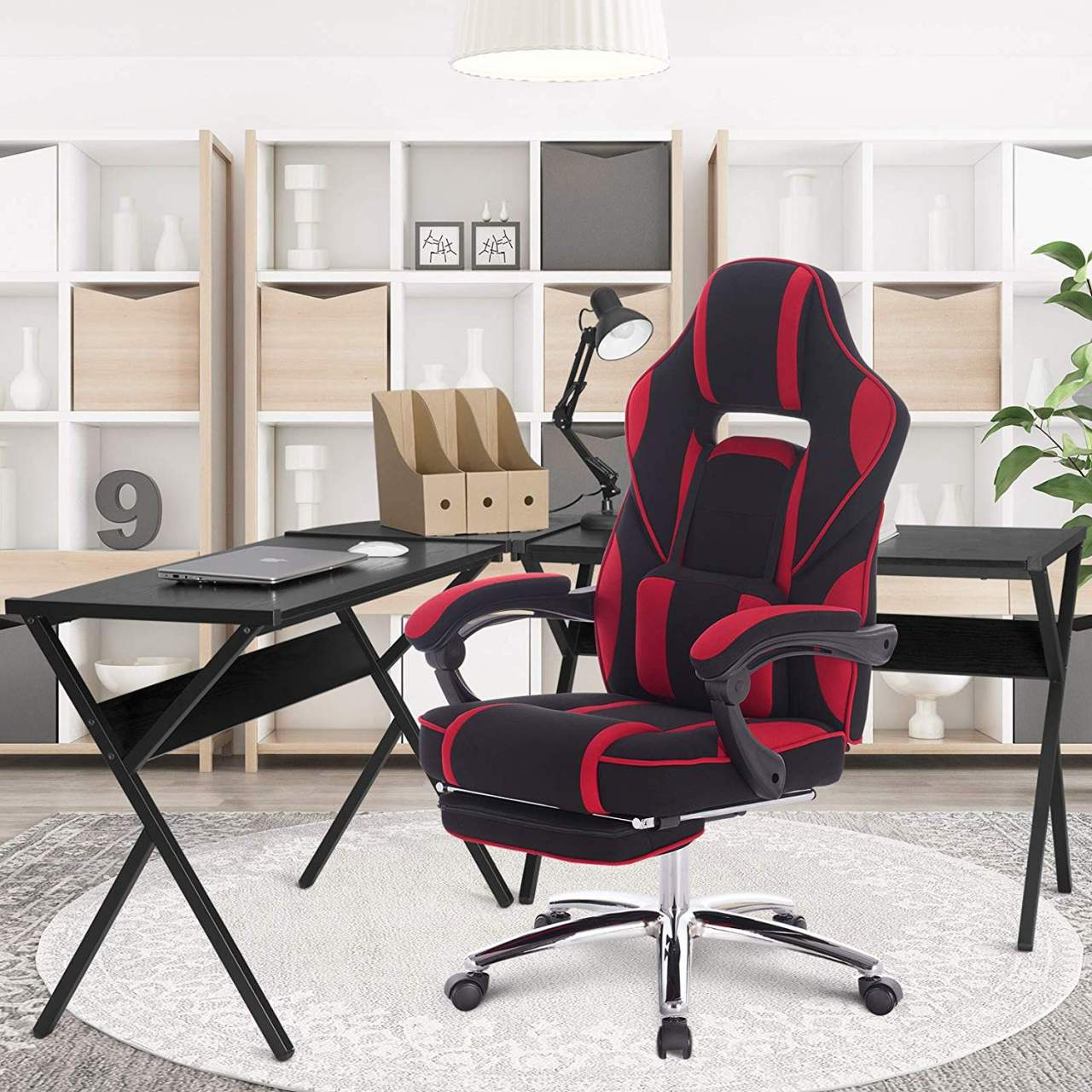- Racing Chair Swivel Computer Desk Chair Fabric Seat With 170°Tilt
