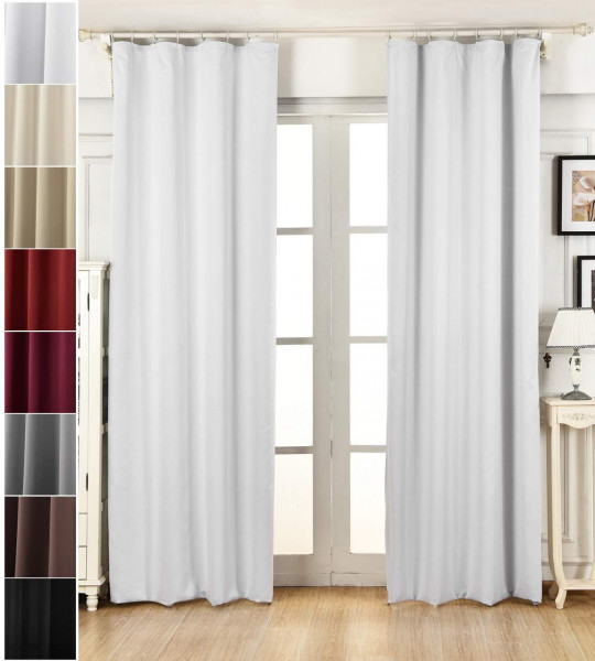 Blackout curtain with curling tape