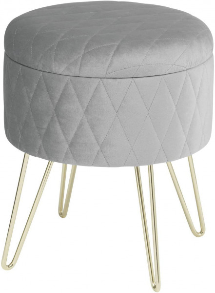 Upholstered stool with storage space made of velvet, round