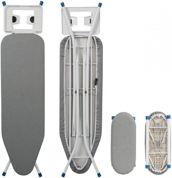 Bügeltisch für Dampfbügeleisen mit Ärmelbrett, 110x30x(68-80) cm. grau
