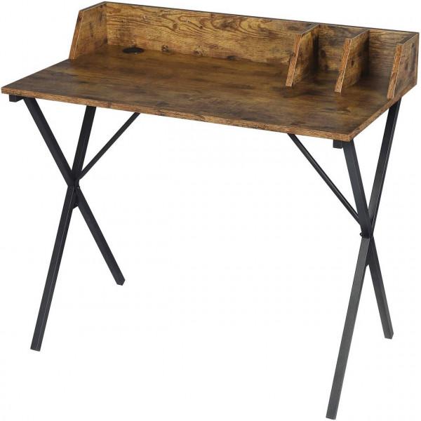 Schreibtisch aus Holz & Metall, Designer X-Gestell, vintage