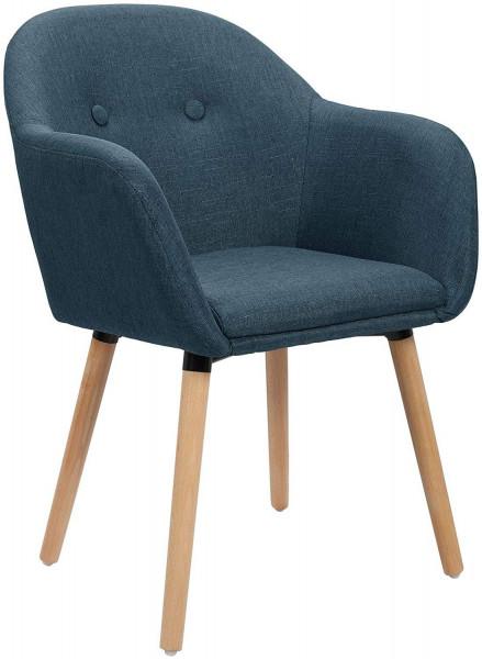 1x Esszimmerstuhl aus Leinen & Holzbeine BH94, dunkleblau