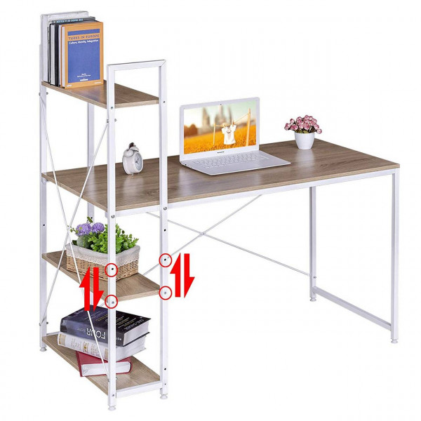 Moderner Schreibtisch mit integriertem Bücherregal