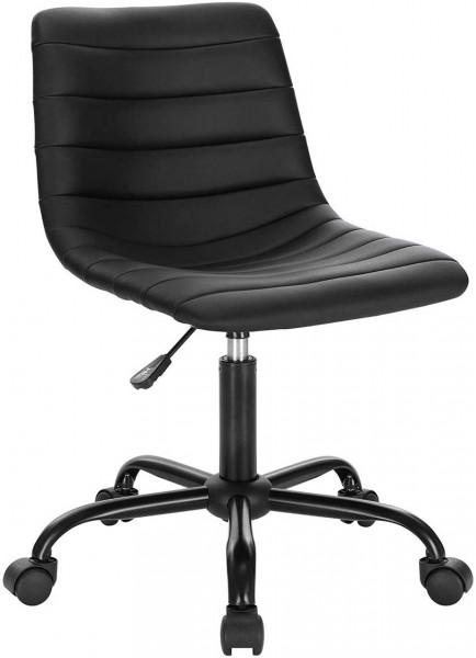 Bürohocker Rollhocker aus Kunstleder Melin, schwarz