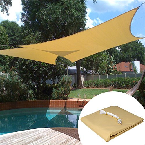 Sun Shade Sail Water Resistant PES Sunscreen Awning Canopy for Outdoor Garden, Sand