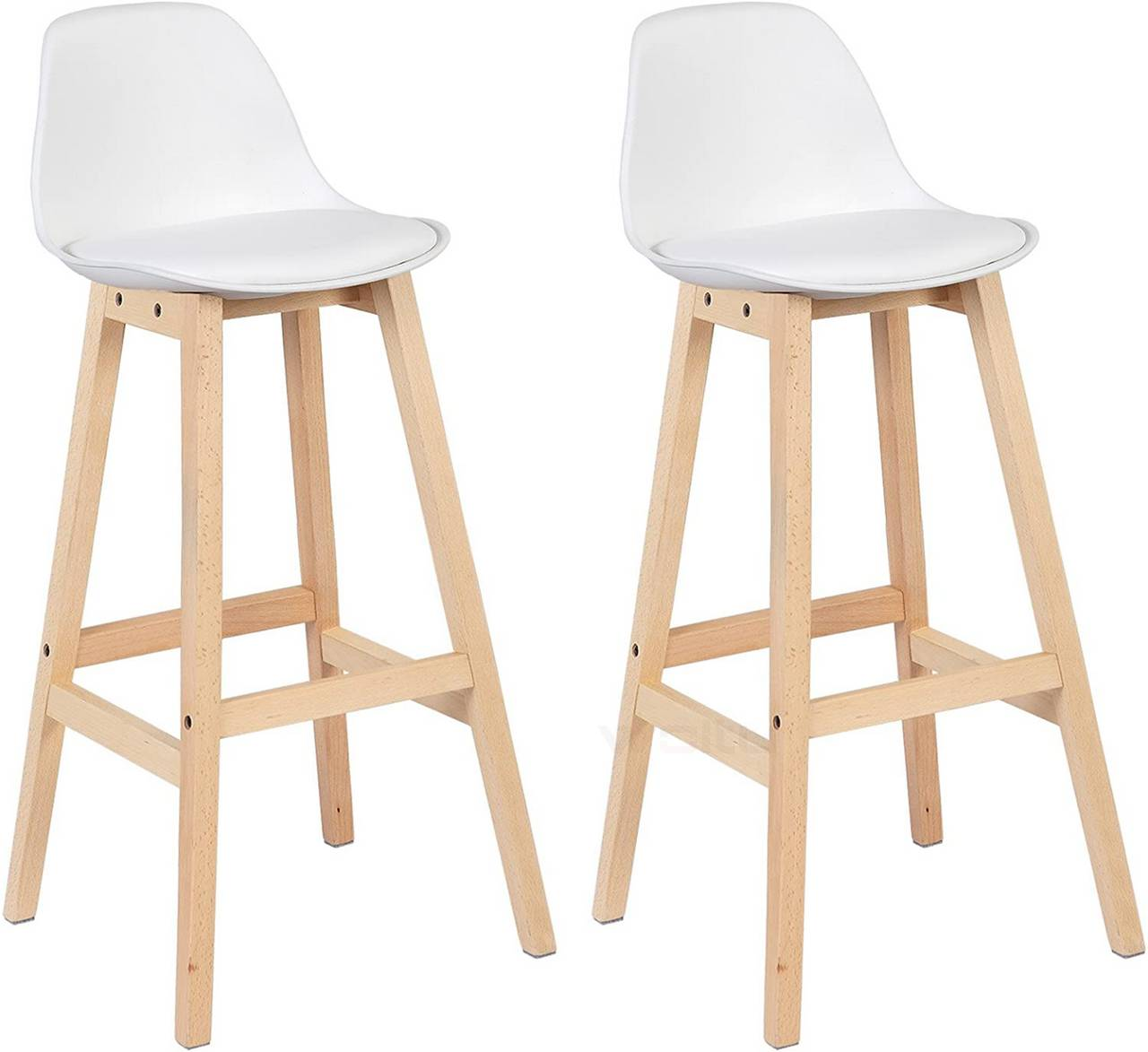 Breakfast Kitchen Counter Chairs Bar Stools Set Of 2 White Woltu Eu