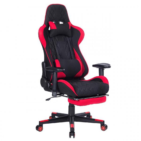 Gaming Stuhl mit Kopfstütze und Lendenkissen aus Stoffbezug