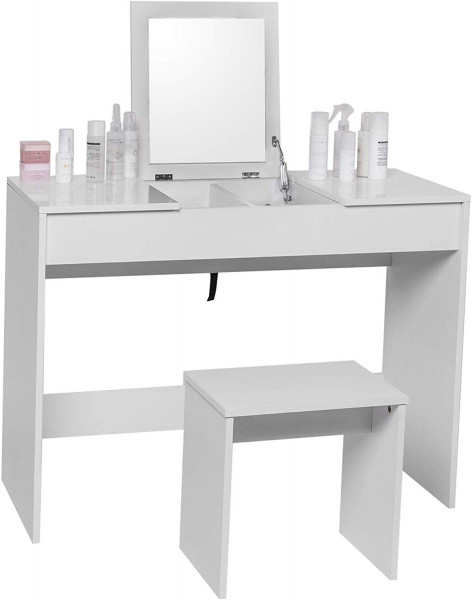 White dressing table with stoot & foldable mirror