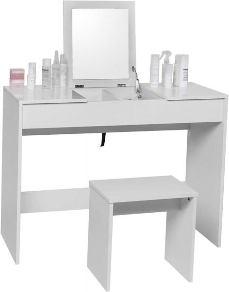 Kosmetiktisch mit Hocker & klappbarem Spiegel in Weiß
