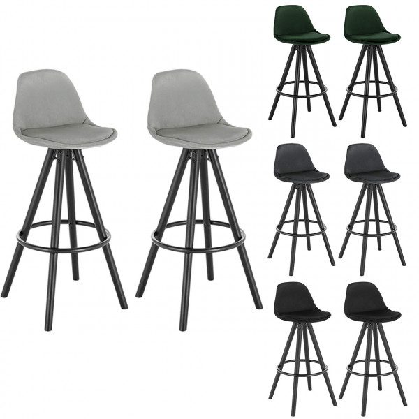 Set of 2 bar stools in velvet model Elena