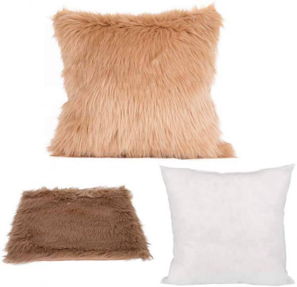 Throw Pillow Cushion Sofa Cushion Cover & Filling Cushion Lambskin Look for Car