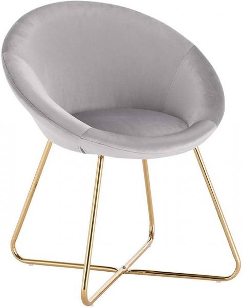 Küchenstuhl aus Samt & Metallbeine - Modell Hanna, hellgrau