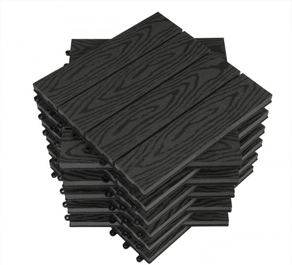 WPC Composite Decking Tiles Set of 11 Interlocking Woodgrain Terrace Tiles Flooring with Click System
