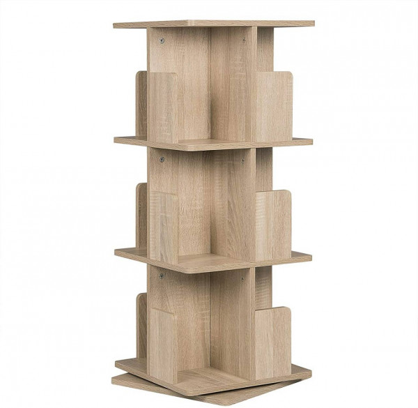 Bücherregal mit 3 Ebenen, 360° frei drehbar natur
