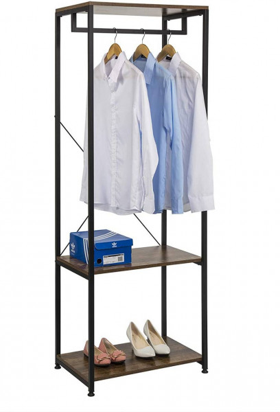 Kleiderständer mit Schuhregal aus Metall und Holz, schwarz-vintage