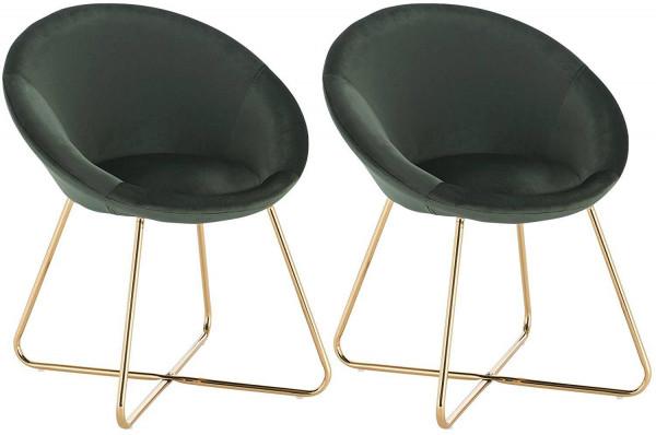 Set of 2 kitchen chair of velvet & metal legs - model Hanna