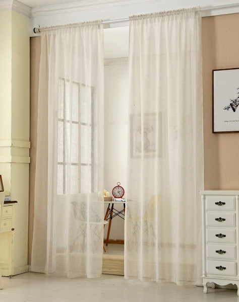 Curtains with curled ribbon in linen look, transparent