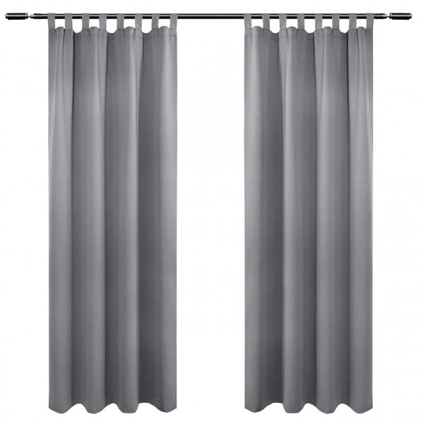 Pair of Tab Top Curtains Thermal Insulated Curtains for Bedroom Living Room Kitchen with Pair of Tiebacks