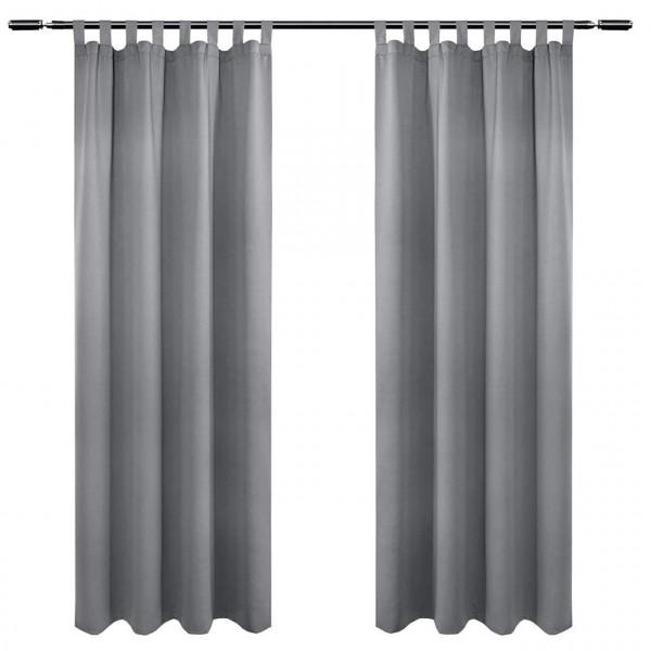 2er Set Vorhang Blickdicht mit 8 Schlaufen und Raffhalter