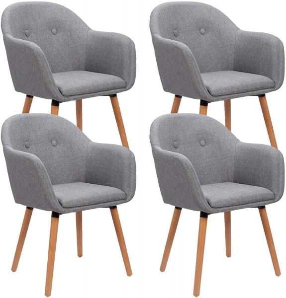 4er-Set Esszimmerstühle aus Leinen Holzbeine,hellgrau