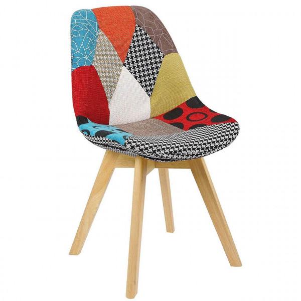 Esszimmerstuhl aus Holz mit Leinenbezug Modell Lisa mehrfarbig