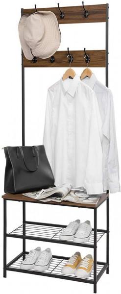Kleiderständer aus Metall mit 7 Haken, dunkelbraun