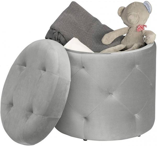 Sitzhocker aus Samt mit Stauraum 39,5x39,5x40cm, Hellgrau
