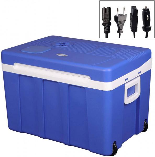 Kühlbox mi Rollen für Auto & Camping Warm-Kalt 50L A++, blau
