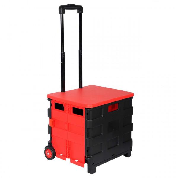 Einkaufstrolley Einkaufswagen mit Deckel Rot