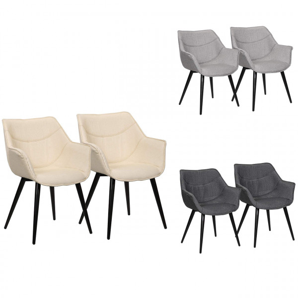 Set of 2 kitchen chairs with armrests