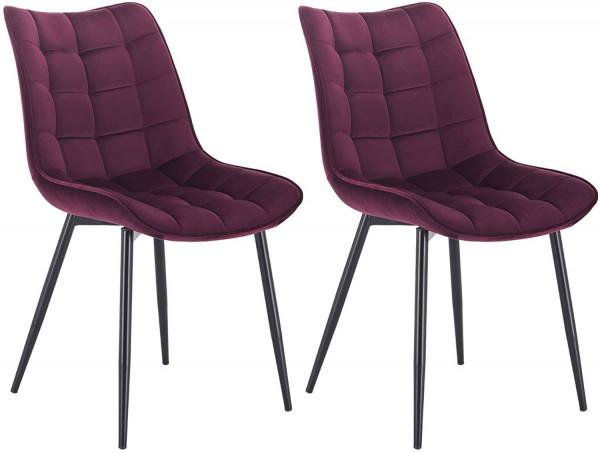 2er-Set Küchenstuhl mit Rückenlehne aus Samt Metallbeine Elif