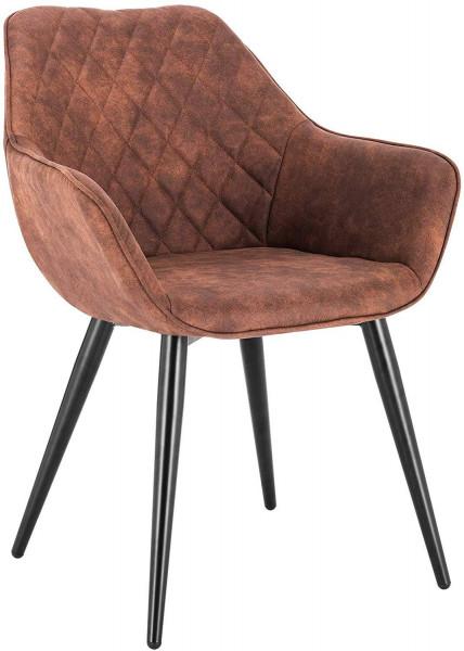 Esszimmerstühle mit Armlehen aus Stoff - Modell Kevin, Braun