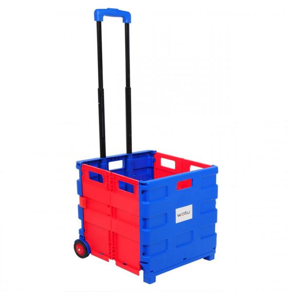 Einkaufswagen ohne Deckel gross Blau-Rot