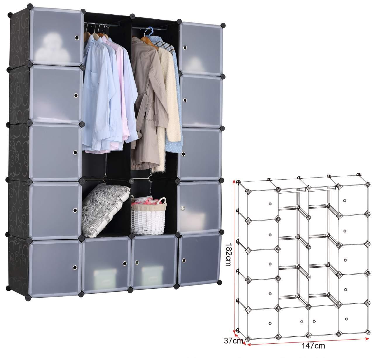 Shelf System Wardrobe With Black Doors Woltu Eu
