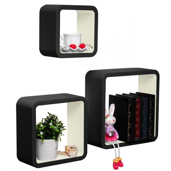 3er Set Wandregal Hängeregal CD Cube Regal RG9269