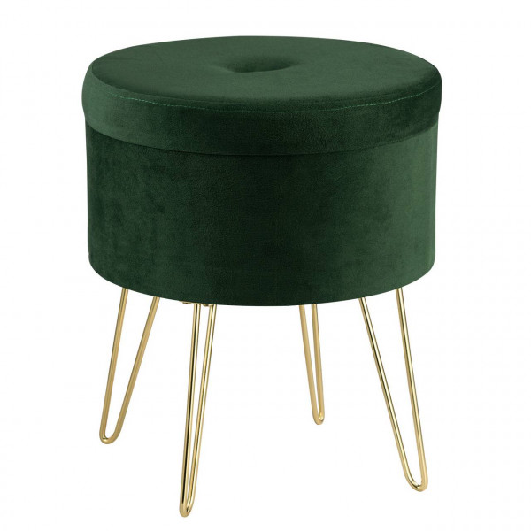 Sitzhocker Polsterhocker aus Samt rund, goldene Metallbeine, dunkelgrün